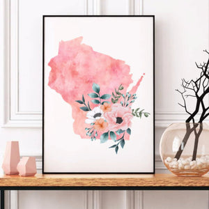 Wisconsin home state poster, Wisconsin watercolor, Wisconsin wall art print