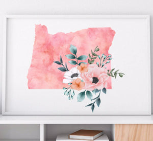 Home state of Oregon poster, Oregon wall art print, Oregon watercolor poster