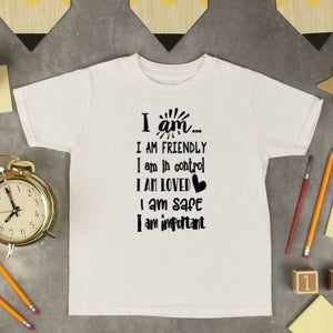 Kids Cotton Tee I AM Positive affirmations Child's shirt