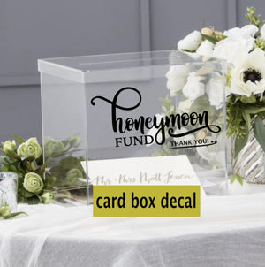 Honeymoon fund decal, Honeymoon fund wedding card box decal