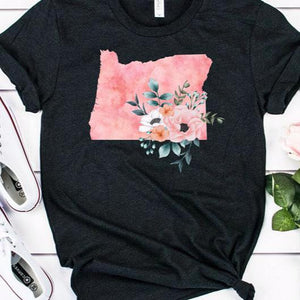 Oregon home state shirt, Watercolor Oregon shirt, Heather black feminine Oregon T-shirt