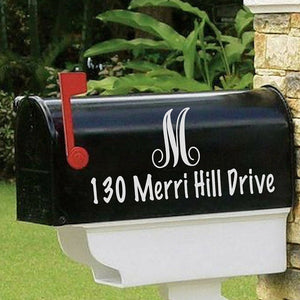Script monogram mailbox decal, Mailbox decal with address, Address decal