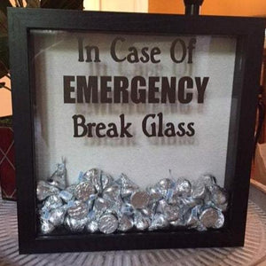 In Case of Emergency Break Glass Shadow Box with Chocolate, Funny Chocolate Lover Gift