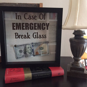 In Case of Emergency Break Glass Shadow Box with Money, Funny College Student Gift