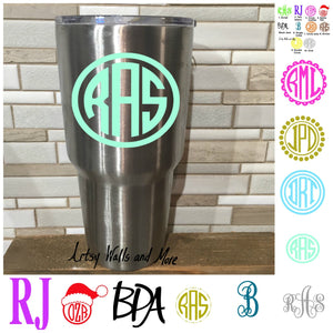 Monogram Decals, Laptop monograms, Car Window monogram decals