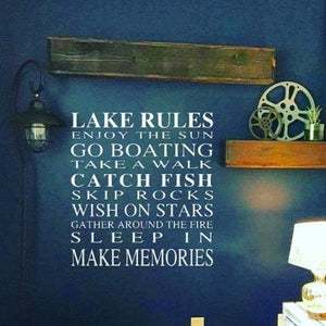 Lake Rules decal, Lake house wall decor, Lake house decal, living room decal