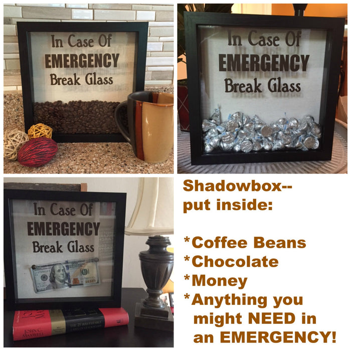 DECAL ONLY for DIY Shadow Box-In Case Of Emergency Break Glass