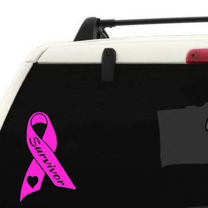 Pink ribbon decal, Pink ribbon car window decal personalized with survivor