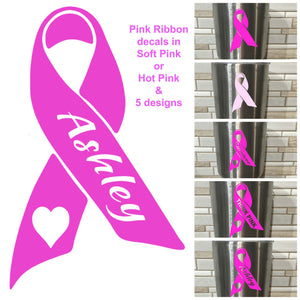 Pink Ribbon Breast Cancer DECAL, survivor decal, pink ribbon decal, think pink decal