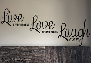 Life, Laugh Love decal, inspirational quote wall decal, family room decal
