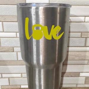 LOVE kettle bell decal, DIY gift to a gym lover, tumbler decal, water bottle decal