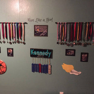 Run like a girl decal, Running wall decal, race medal display decal