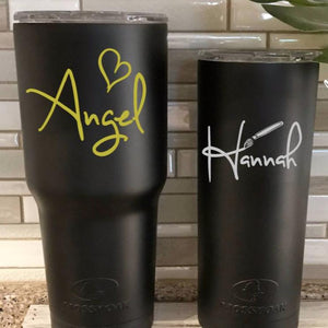 Black tumblers with name decals -- heart name design and paintbrush decal for an artist