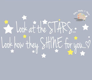 Look at the stars...Look how they shine for you, cold play quote wall decal