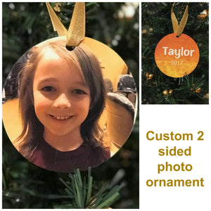 Photo Christmas ornament, Personalized Christmas ornament, Dated ornament