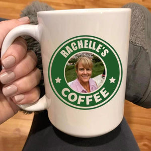 Custom Starbucks logo mug with your name and photo in the middle