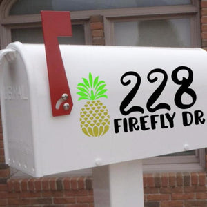 Pineapple mailbox decal, Pineapple decal, address mailbox decal
