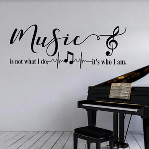 Music is not what I do it's who I am decal, music room decal, piano room decal