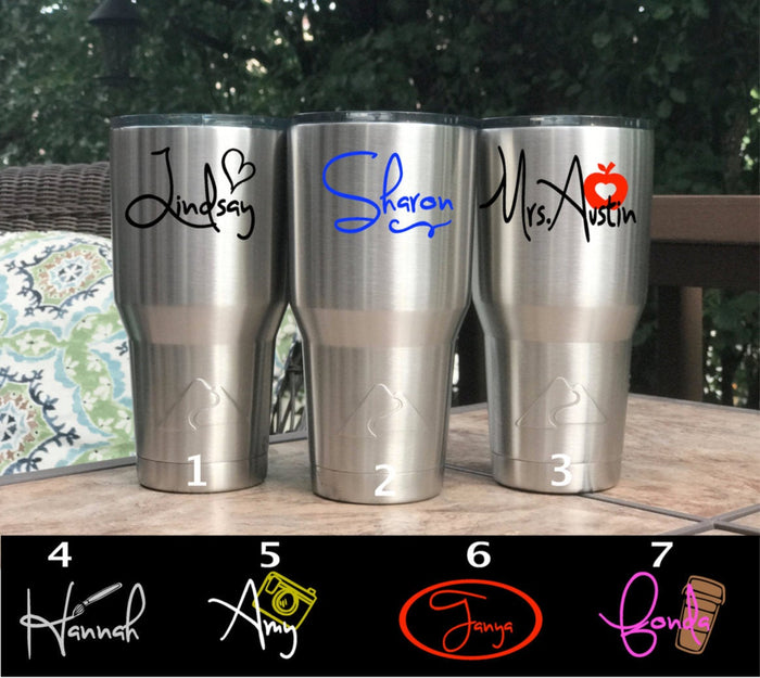 Tumbler Personalized with Name Decal