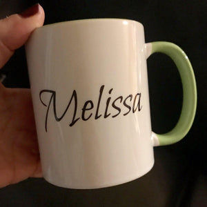 Back side of the mug with personalized name option