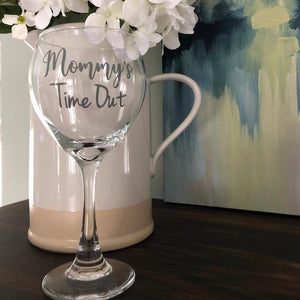 Mommy's Time Out wine glass, funny gift for a baby shower, new mommy gift