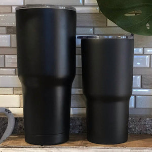 Black tumblers, 30 oz and 20 oz