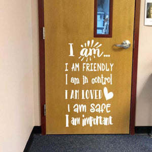 I am statements, positive affirmations decal, classroom door decal