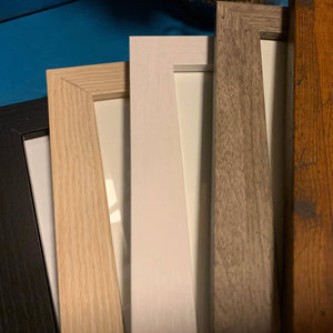 5 Frame color choices - black, blonde, white, gray, and honey