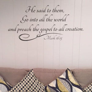 The Great Commission decal, Go into all the world, Church wall decal, Church foyer decal