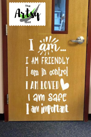I AM, Positive Affirmations Classroom Door Decal, Pinterest image