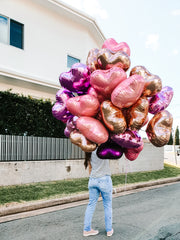 [INFLATED] 30 Foil Balloon Hearts