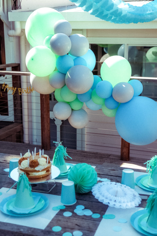 DIY Balloon Garland Kit - Minty (Blue, green, grey) - Bang Bang Balloons