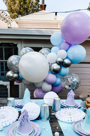DIY Balloon Garland Kit - Elsa (pastel purple, blue, silver) - Bang Bang Balloons