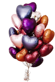 [INFLATED] 30 Foil Balloon Hearts - [Bang Bang Balloons Byron Bay]