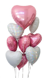 [INFLATED] Foil heart balloon bouquet | 5, 10 or 20 Hearts
