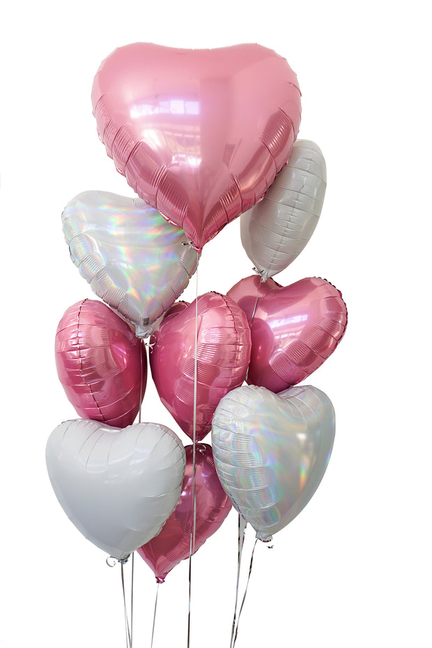 [INFLATED] Foil heart balloon bouquet | 5, 10 or 20 Hearts - Bang Bang Balloons
