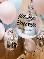 custom clear baby shower balloon with pink and blue balloons