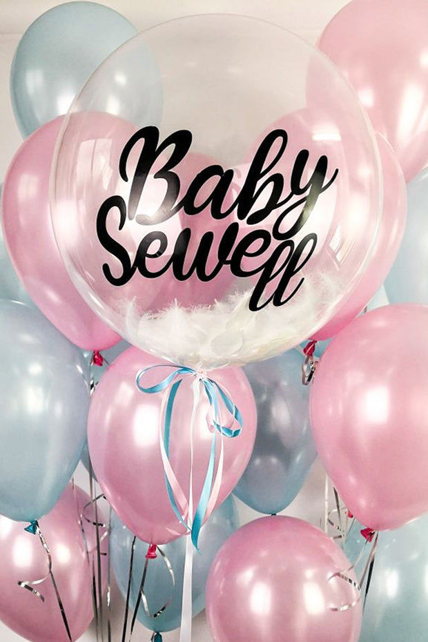 custom clear baby shower balloon pink and blue balloons