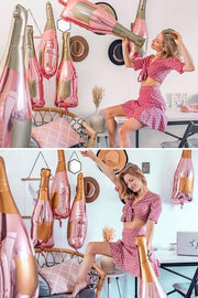 [INFLATED] Pink Champagne Bottle Foil Balloon