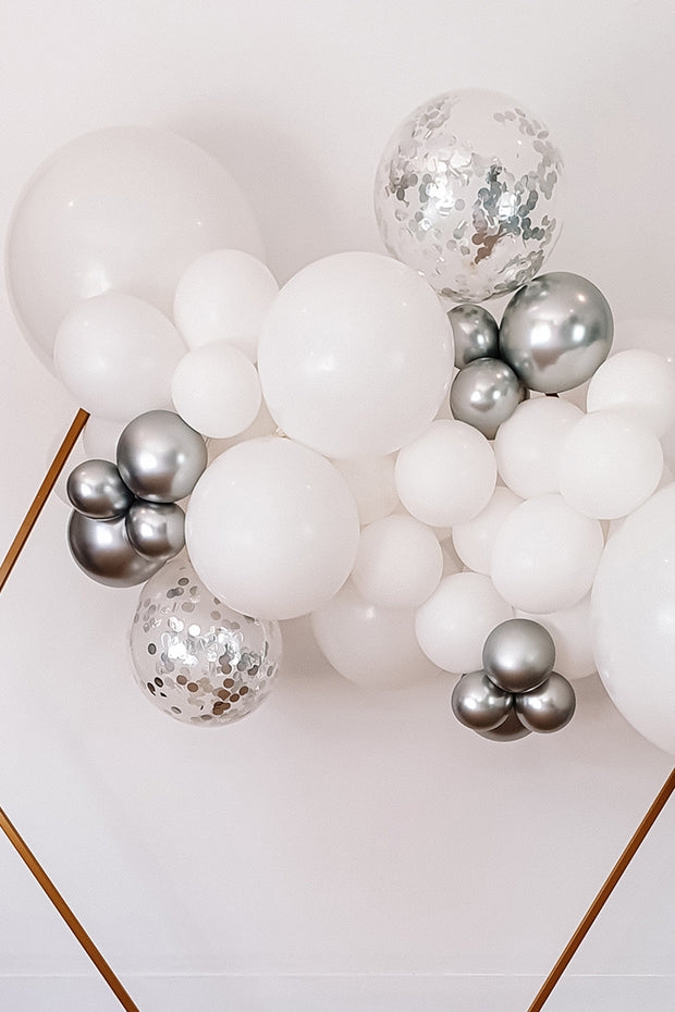DIY Balloon Garland Kit - Cloud (white, chrome) - [Bang Bang Balloons Byron Bay]