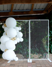 white fence balloon garland wedding