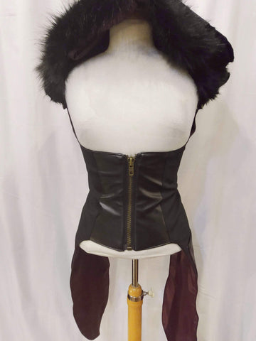 Steampunk Underbust Holster with Detachable Fur Hood - Black-[Canadian]-[Handmade]-[Alternative Fashion]-Venus & Mars Clothing