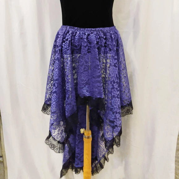 The VM Long Lace Asymmetircal Skirt-[Canadian]-[Handmade]-[Alternative Fashion]-Venus & Mars Clothing