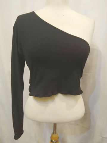 The VM One Sleeve Crop Top-[Canadian]-[Handmade]-[Alternative Fashion]-Venus & Mars Clothing