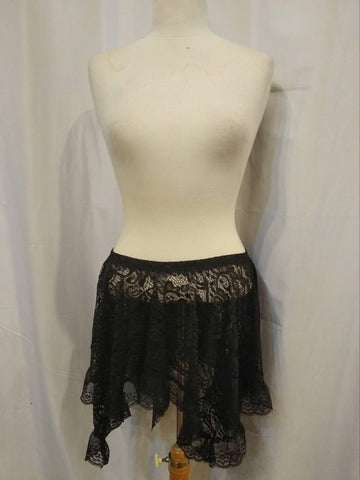The VM Short Lace Asymmetrical Skirt-[Canadian]-[Handmade]-[Alternative Fashion]-Venus & Mars Clothing