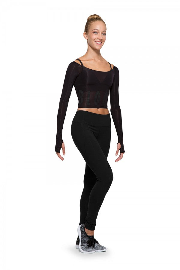 Bloch Long Sleeve Black Crop Top