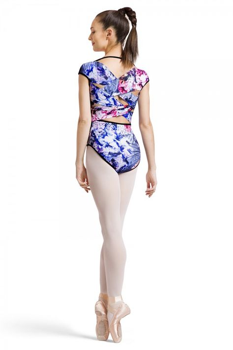 Bloch Reversible Peony Print  X Bck Cap Sleeve Leotard