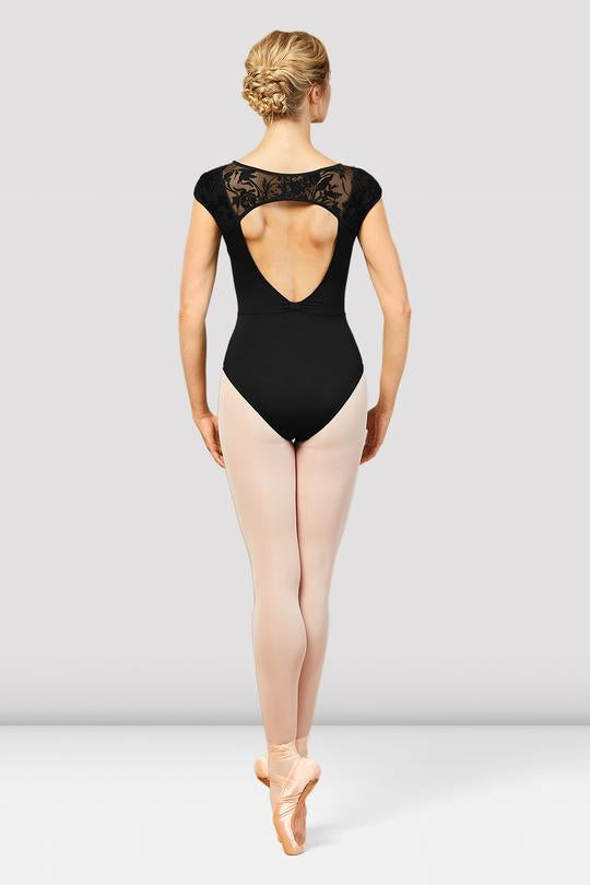 Bloch Cosmo Floral Mesh Cap Sleeve Leotard with Open Back