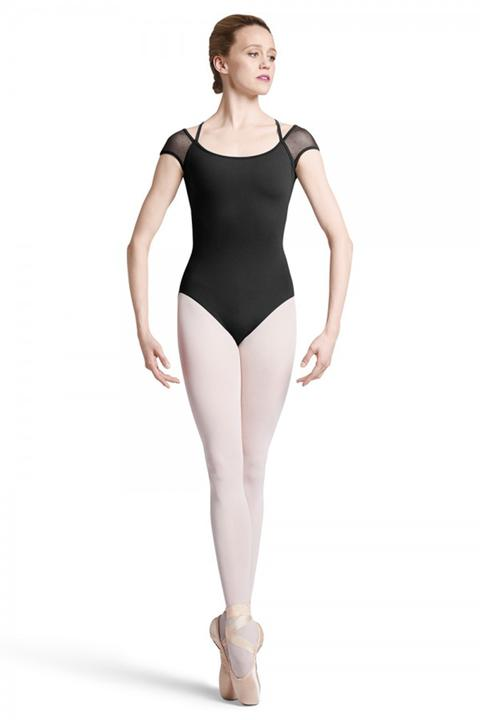 Bloch Scallop & Spot Mesh Back Cap Sleeve Leotard