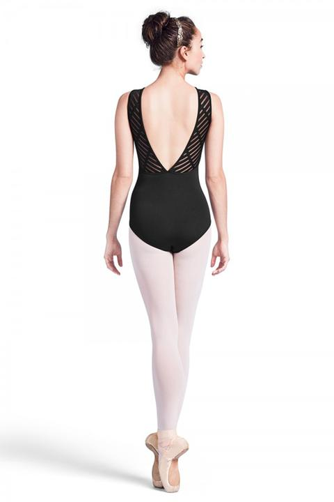 Mirella Sheer Ladder V Bk Tank Leotard
